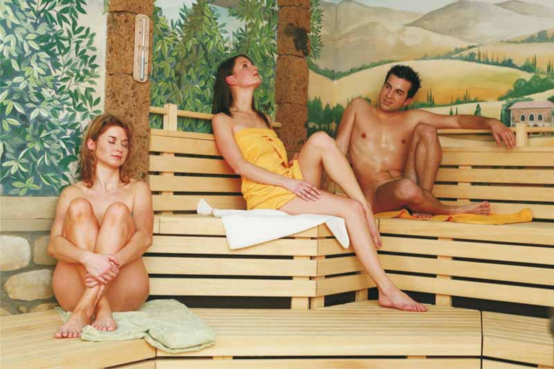 Mature nymphs relieving in a sauna mature women