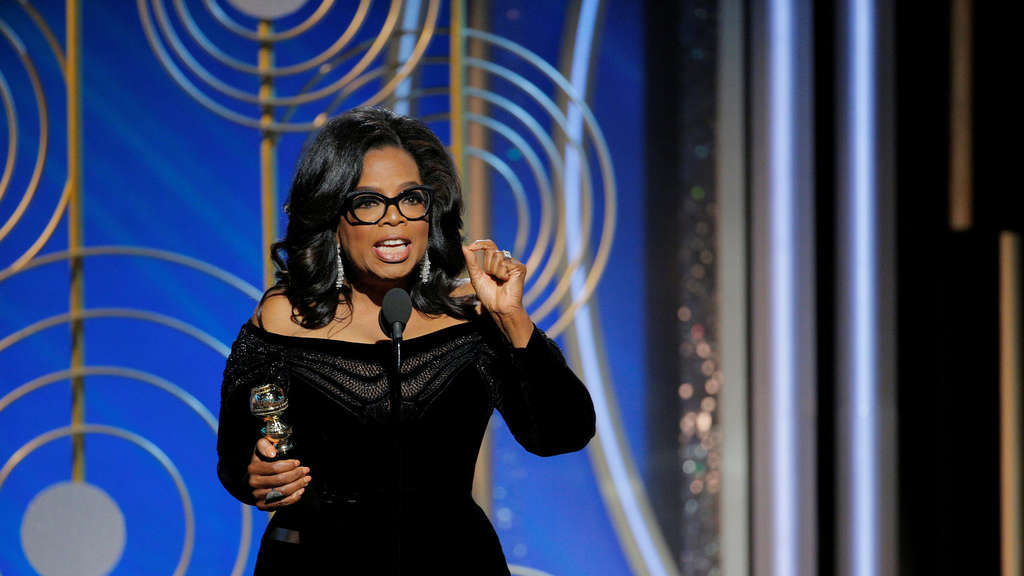 Oprah Winfrey erteilt Hollywood eine Lektion bei den Golden Globe Awards in Beverly Hills.