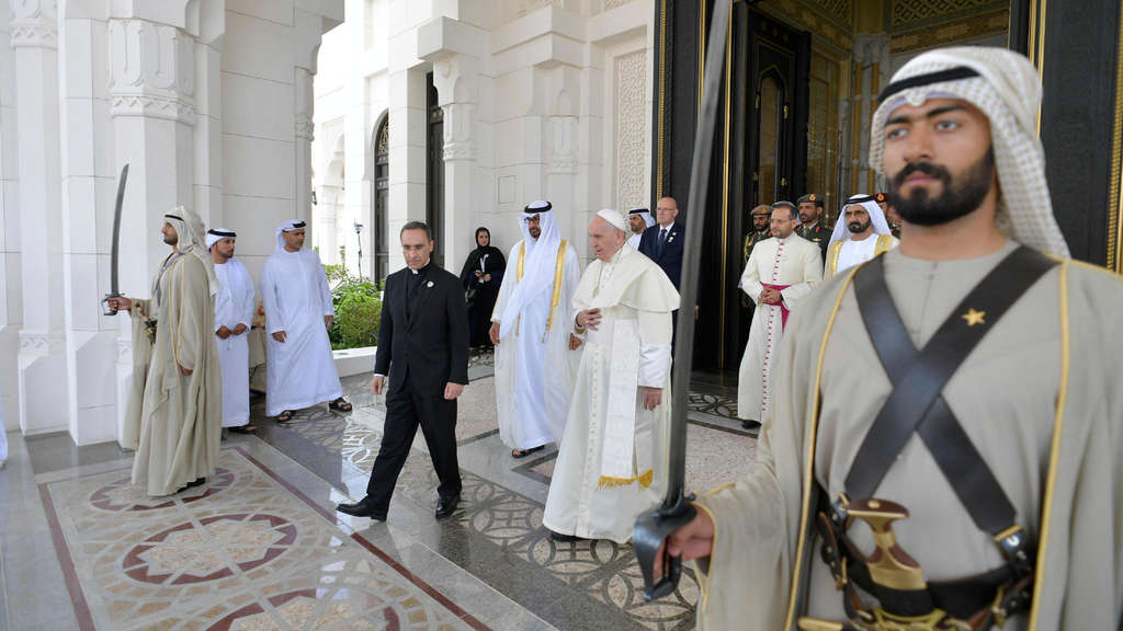 Pope Francis attends a welcome ceremony at the Presidential Palace in Abu Dhabi