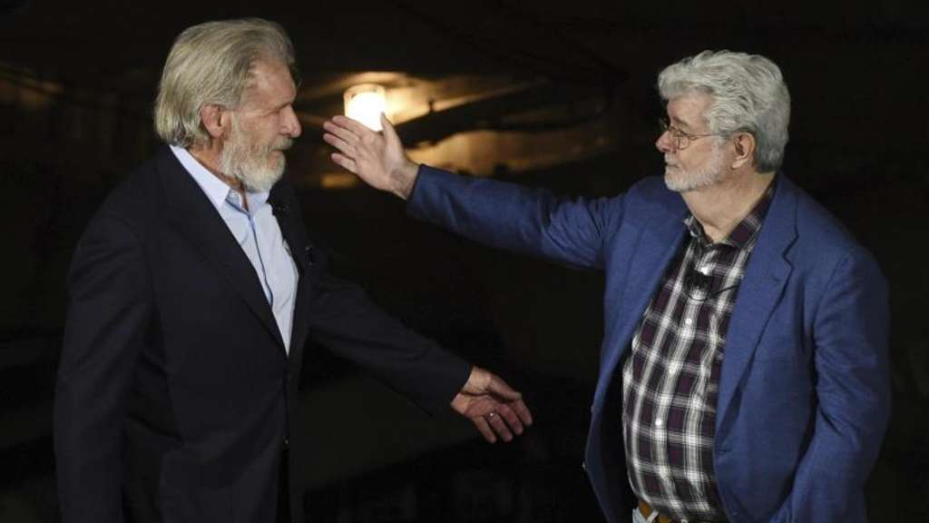 George Lucas und Harrison Ford in Disneyland