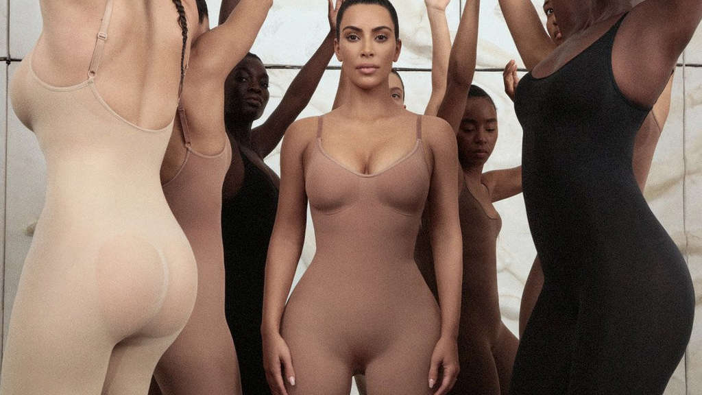 An undated image obtained on social media on June 27, 2019 shows models including Kim Kardashian dressed in bodysuits