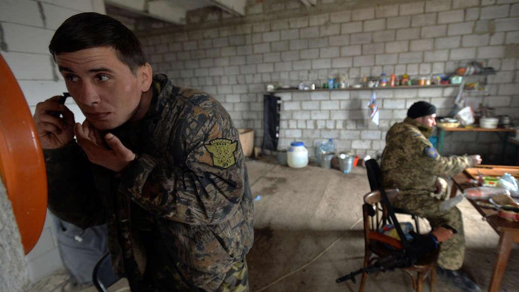 Ukrainische Soldaten in Berdyanske.