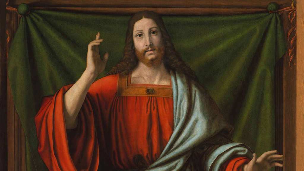CHRIST BLESSING, by Andrea Solario, 1490-1524, Italian Renaissance painting, oil on wood. This figure is painted slightl