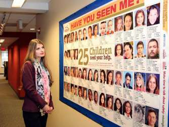 "Alicia Kozakiewicz im ""National Center for Missing and Exploited Children"" in Alexandria im US-Bundesstaat Virginia."